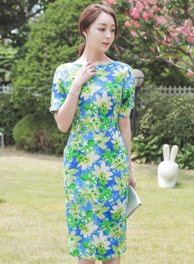 Lime Flower Linen Slim Dress