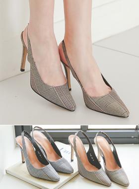 Fabric Glen check Sling backs heel