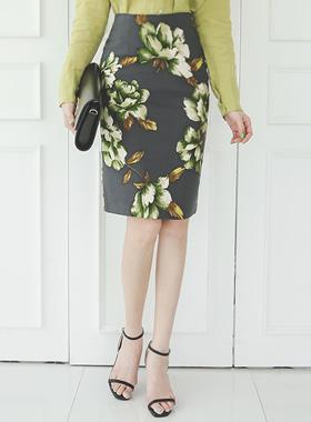 Green Tea Flower Cotton span Skirt
