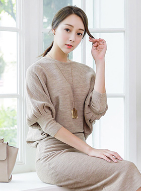St Volume Sleeve Shibori Knit