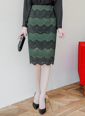 Pine wave color combination Race Skirt