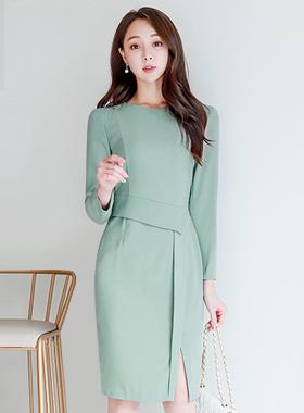 Edge Shoulder Simple Slit Dress