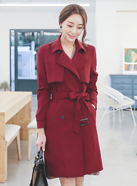 Soft texture wing double Trench Coat