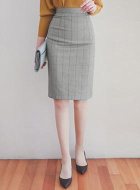 Classic Pencil Check Skirt