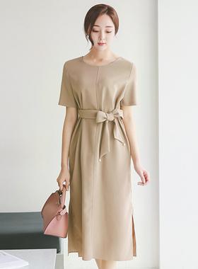 Side Deep Slit Pearl Belted Dress