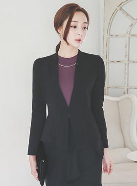 feminine No collar Peplum Jacket