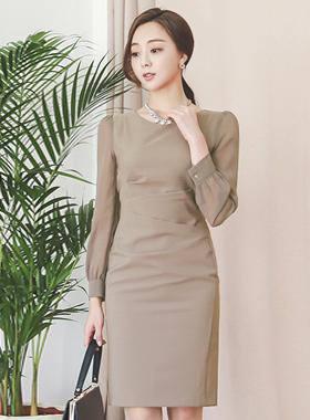 Chiffon sleeve V-neck pin tuck Dress