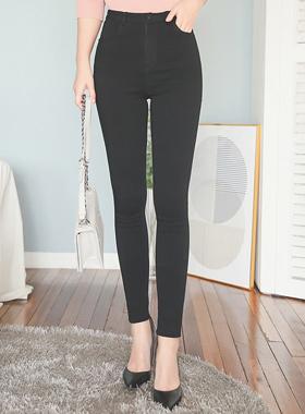 쫀쫀 Span Black Skinny Pants