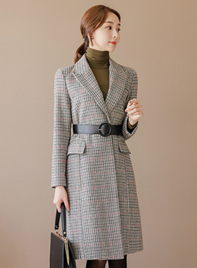 Mix Color Belted Check Wool coat