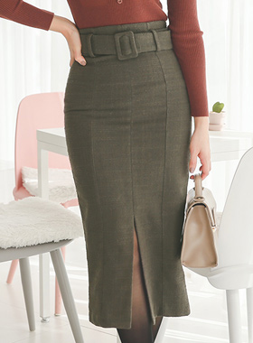 slimline Belted Slit Skirt