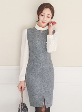Maria v-top roll neck dress