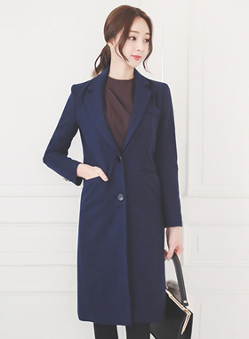 Long coat of flap pocket Taylor wool