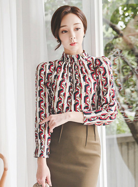 Luxury Color chain Folded Blouse