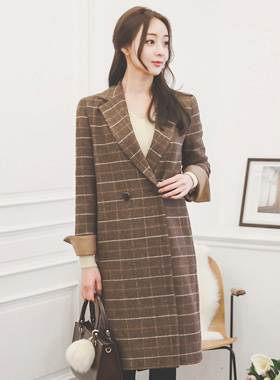 Two button sleeve color wool wool Check Coat