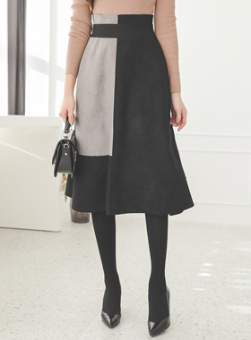 Suede Block Color Image Flare Skirt