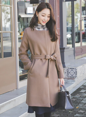 Daily Raund neck Belted coat II