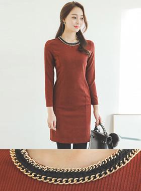 Gold chain neck corduroy texture Dress