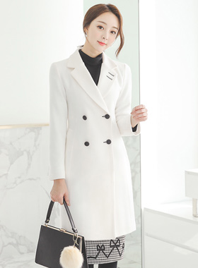 Stella double-button back slit wool coat