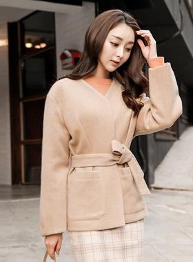 Patch Pocket Pinch Belted Woolen Jacket