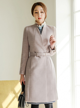 Formal Belted Herringbone Wool Coat