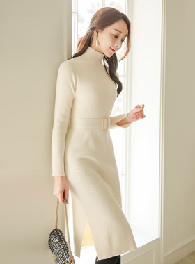 Belted Slit Paula Knit Dress
