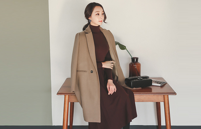 Double pocket stitch Tailored wool coat
