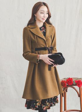 Romantic Velvet Belt Flare Coat