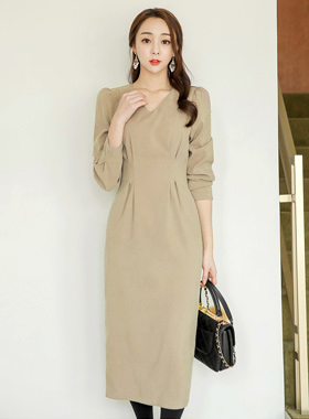 Pinch V-neck napping Midi Dress