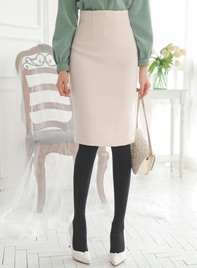 simple Basic Wool Midi Skirt