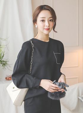 Stitch pocket round blouse tee