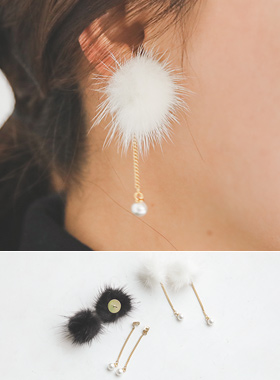 Fur olive pearl earring
