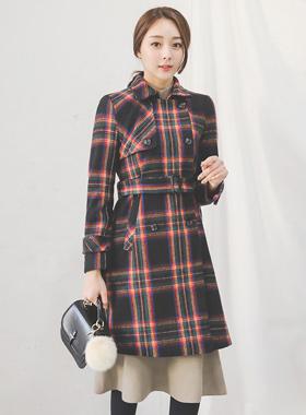 unique tartan check visor Wool Coat