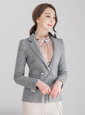 feminine imitation pearl Taylor wool jacket