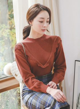 Petit Frill Line Viscose Funnel Neck Knit