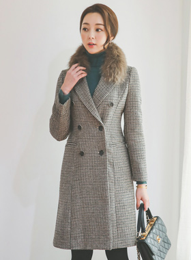 Antique Shepard check double wool coat