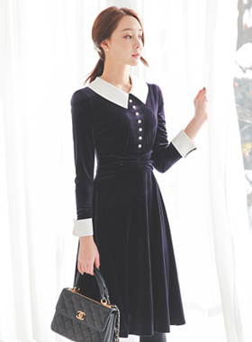 Pointed pearl Velvet Shearing Dress