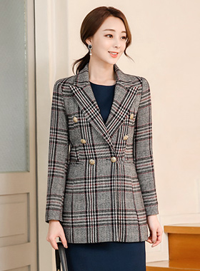 Gold Button Taylor Wool Check Long Jacket