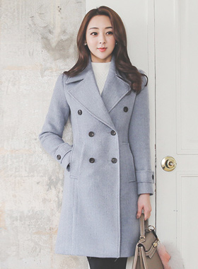 Wide Color Double-button quilting Coat