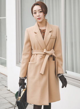 Mini pearl Belted quilting wool coat