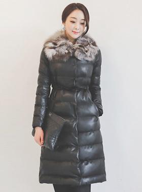 Real Fox fur echo leather string long padding