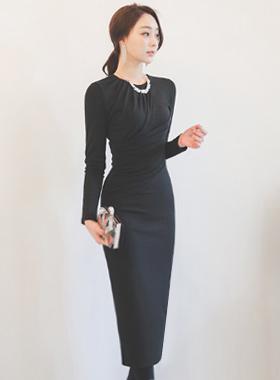 Glam drape shirring napping maxi dress