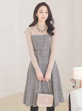 Knit top layered Check Flare Long Dress
