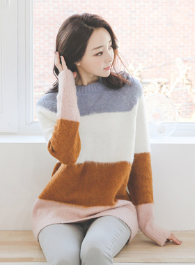 Color scheme Round Alpaca Wool Long knit