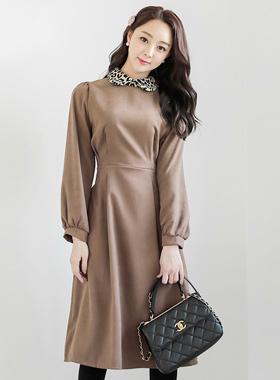 Leopard Black Puff Flare Long Dress