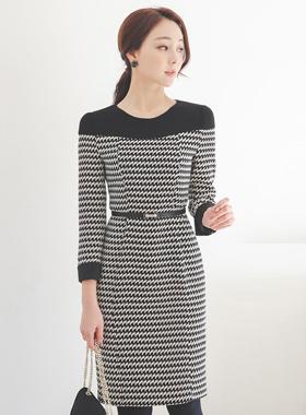 지그재그 color combination Round Dress
