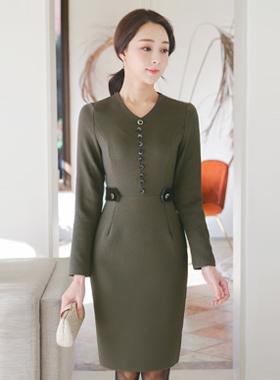 Velvet Beanie Button V-neck Span Dress