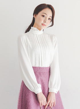 Flower embroidery lace ruffle neck Blouse