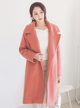 Mohair Touch Welt Pocket Over-fit Quilting Coat