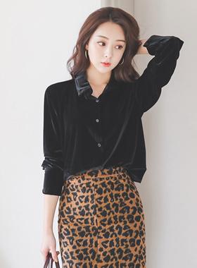 Chic Velvet Shirt Blouse