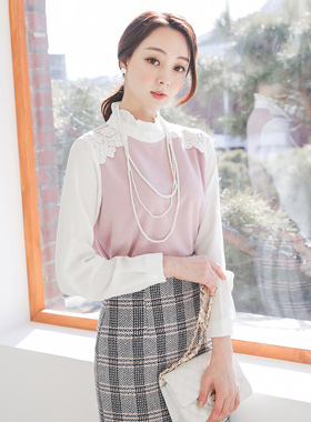 Lovely Frill Neck Race Color Combination Blouse